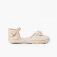 Flowers espadrille sandal with leather strap Off-White
