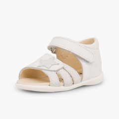 Leather sandals girls first step loop fasteners and star White