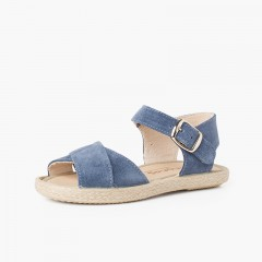 Suede Sandal with Crossed Straps and Jute Sole Blue