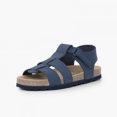 Eco sandals kids nubuck leather Navy Blue