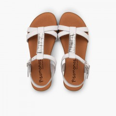 Sandals with Padded Insole and Silver Embellishment White