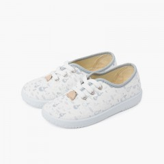 Canvas Kids Sneakers Laces Balloons Grey