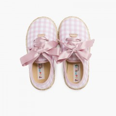 Vichy Squares and Jute Trainers with Satin Laces Rosa y Blanco