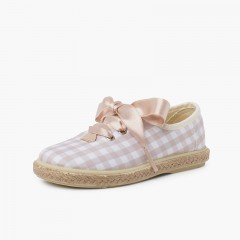 Vichy Squares and Jute Trainers with Satin Laces Bege e branco