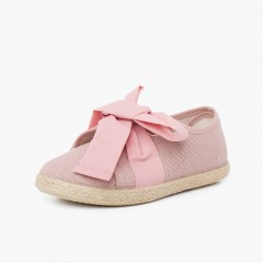 Linen Trainers with Bow and Jute Band Pink