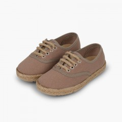 Kids' trainers with jute sole and laces Light Brown