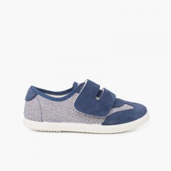 Striped and Suede Sneakers Double Riptape Strap Navy Blue