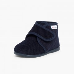 Corduroy Slippers Boots Navy Blue