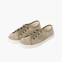 Suede Type Trainers Side Perforation and Antibacterial Insole Military Green