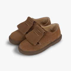 Smooth Suede Fringe Bluchers Taupe