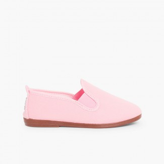 Canvas Slip On Plimsolls Pink