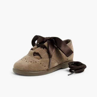 Kids Suede Oxford Shoes  Taupe