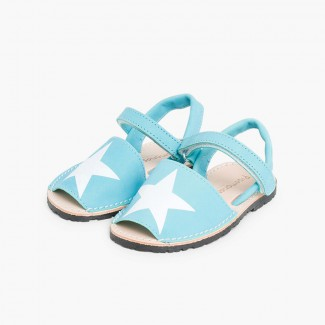 Nubuck Menorcan Sandals with Stars and loop fasteners Turquoise