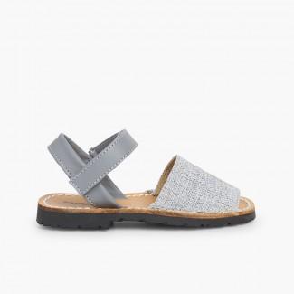 Fabric Avarcas Menorcan Sandals Grey