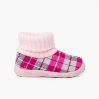 Boot slippers with wool sock collar Pink