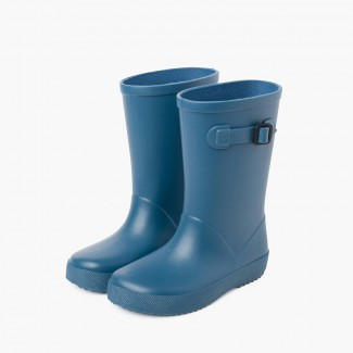 Dusty colors splash wellies with side buckle Blue