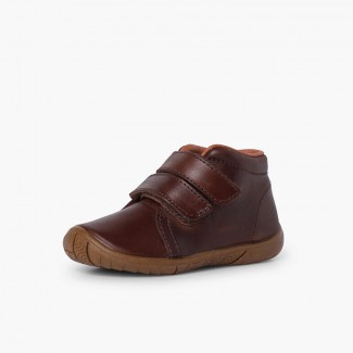 Boys leather boots double riptape reinforced toecap Brown