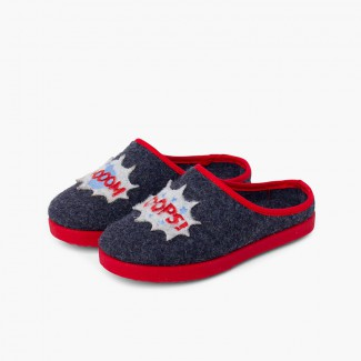 Clog Slippers with Drawings Navy Blue Boom