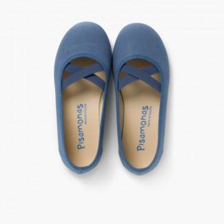 Girls Canvas Ballerinas Ballet Style Navy Blue
