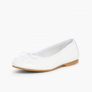 Girls Leather Ceremonial Ballerinas White