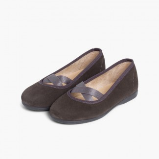 Girls Ballet Pumps with Crossed Ribbon Grey