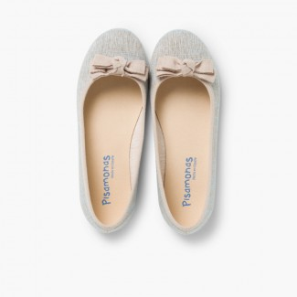 Linen Ballerina Pumps with Bow for Girls and Women Blue