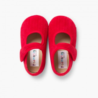 Girls Corduroy Mary Jane Slippers Red