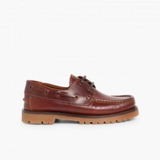Boys Lace-Up Deck Shoes Brown