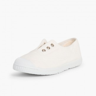 Rubber Toe Cap Canvas Trainers Without Laces White