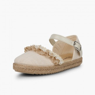 Espadrilles with Lace Off-White