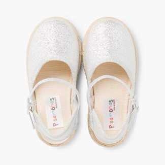 Girls Glitter Buckle Up Espadrille Wedge Silver