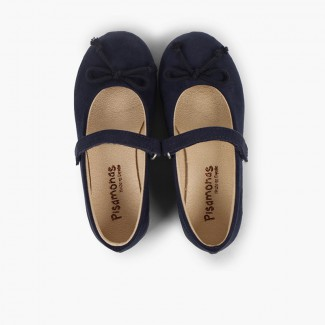 Ballet Flats with loop fasteners and Mary Jane-Style Bow  Navy Blue