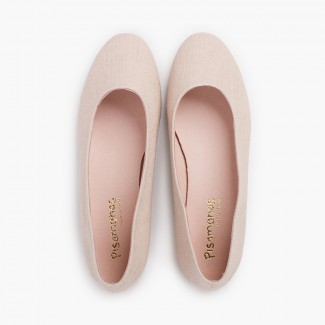 Party Linen Ballet Flats for Girls and Women Nude