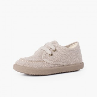 Casual Canvas Deck Shoes with Sport Sole Light Brown