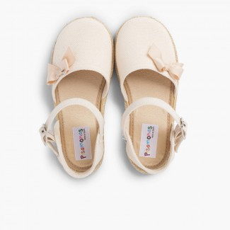 Espadrille Sandal with Buckle Closure and Bow Off-White