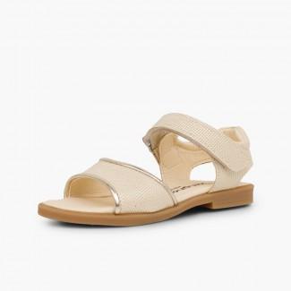 Shiny leather sandals girls loop fasteners Beige