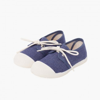Canvas Casual Trainers with Rubber Toe Cap Blue denim