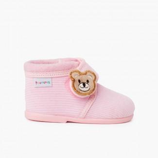 Kids Corduroy Slipper Boots Bear Pink