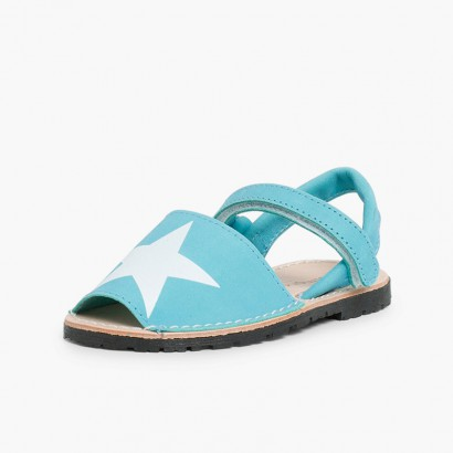 Nubuck Menorcan Sandals with Stars and loop fasteners Turquesa