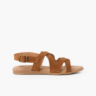 Split Leather Sandals with Cross Straps Tan