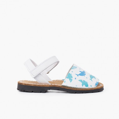 Menorcan sandals printed for children with adhesive strip sharks