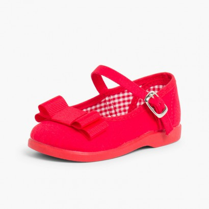 Canvas Mary Janes Cobbler Bow Red