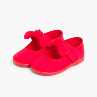 Canvas Mary Janes loop fasteners  Red