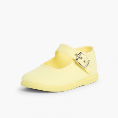 Girls Buckle Up Canvas Mary Janes Lemon yellow