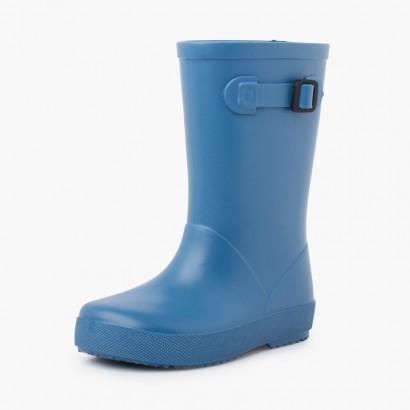 Pastel buckle rain boots Blue