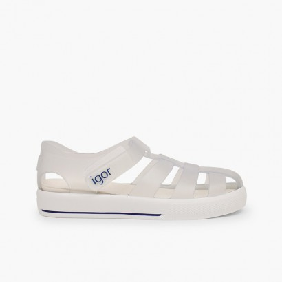 Jelly shoes with loop fasteners strap Star White