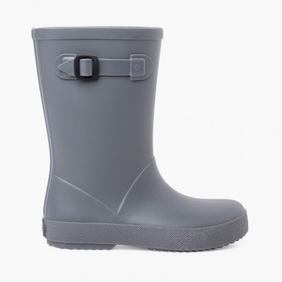 Dusty colors splash wellies with side buckle Grey
