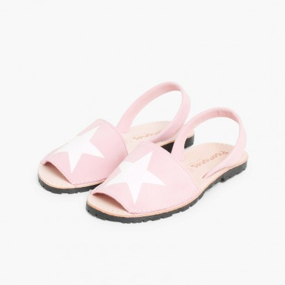 Nubuck Menorcan Sandals with Stars  Pink