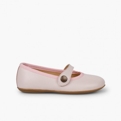 Girls Ceremonial Leather Mary Jane Shoes Pink