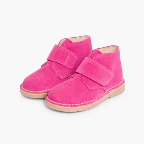 Kids Riptape Suede Desert Boots Fuchsia